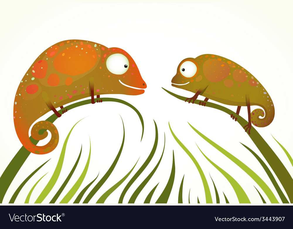 Two colorful lizards sitting on grass background vector | Price: 1 Credit (USD $1)