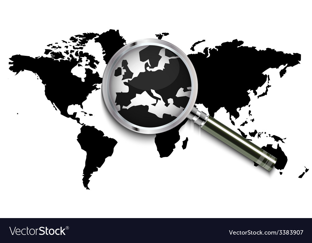 World map under magnifying glass vector | Price: 1 Credit (USD $1)