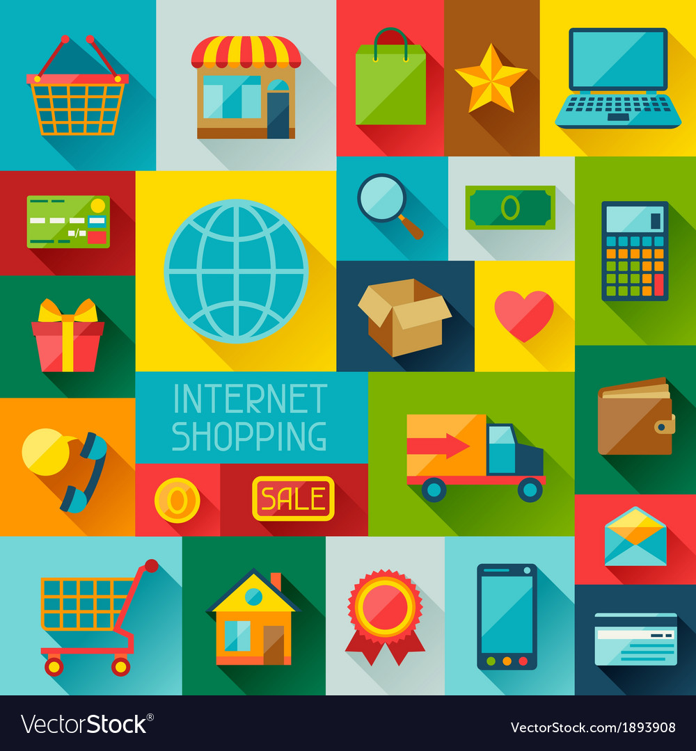 Background with internet shopping icons in flat vector | Price: 1 Credit (USD $1)