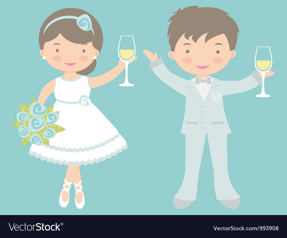 Bride and groom celebrating vector | Price: 3 Credit (USD $3)
