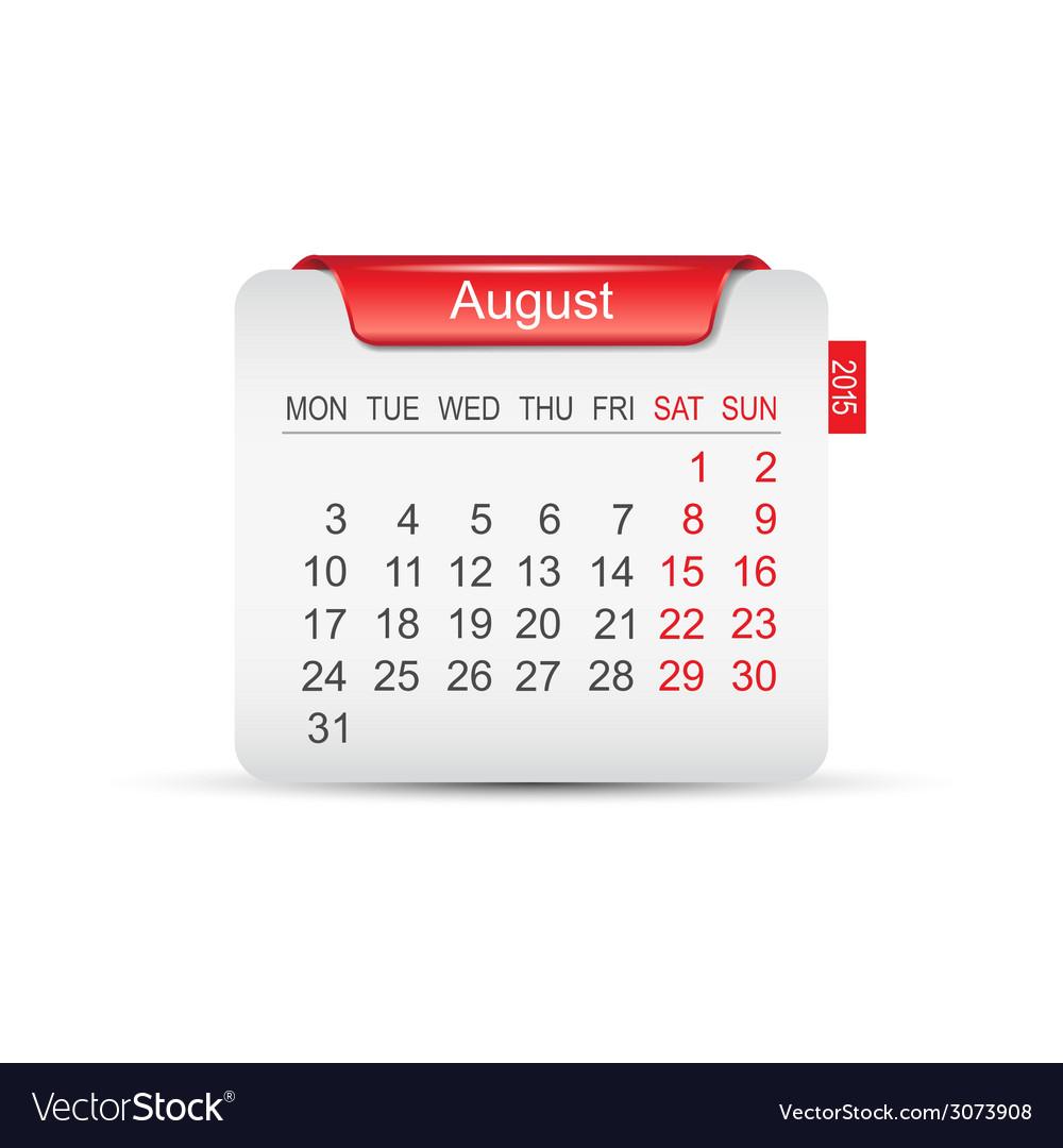 Calendar august 2015 vector   Price: 1 Credit (USD $1)