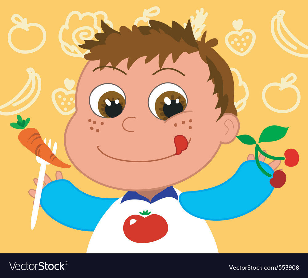 Child with healthy food vector | Price: 1 Credit (USD $1)