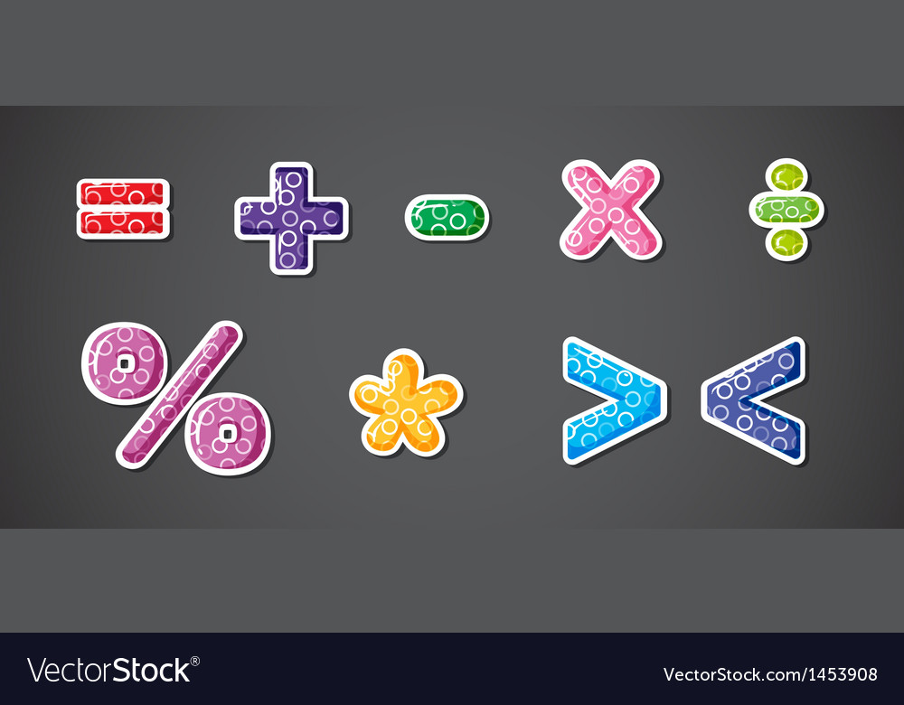 Different mathematical operation signs and symbols vector | Price: 1 Credit (USD $1)
