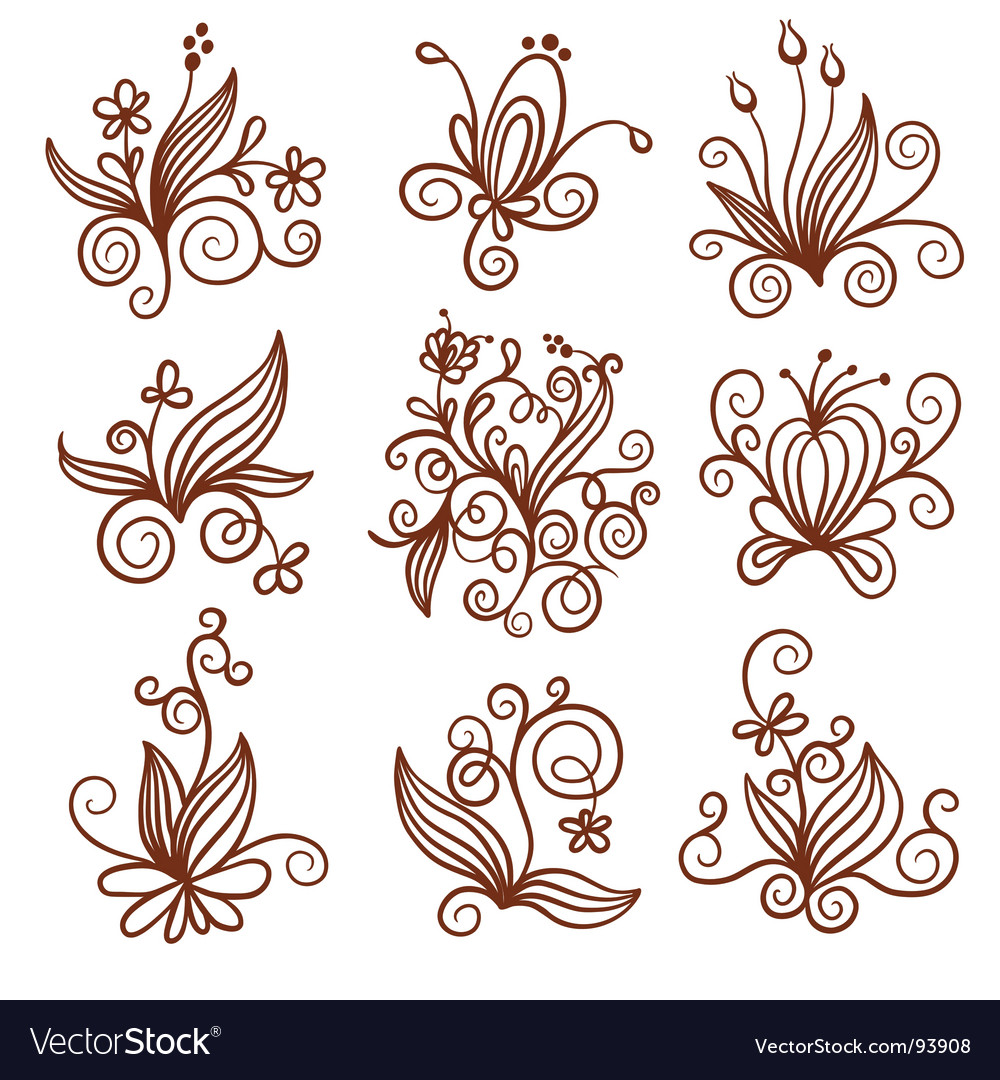 Floral icons vector | Price: 1 Credit (USD $1)