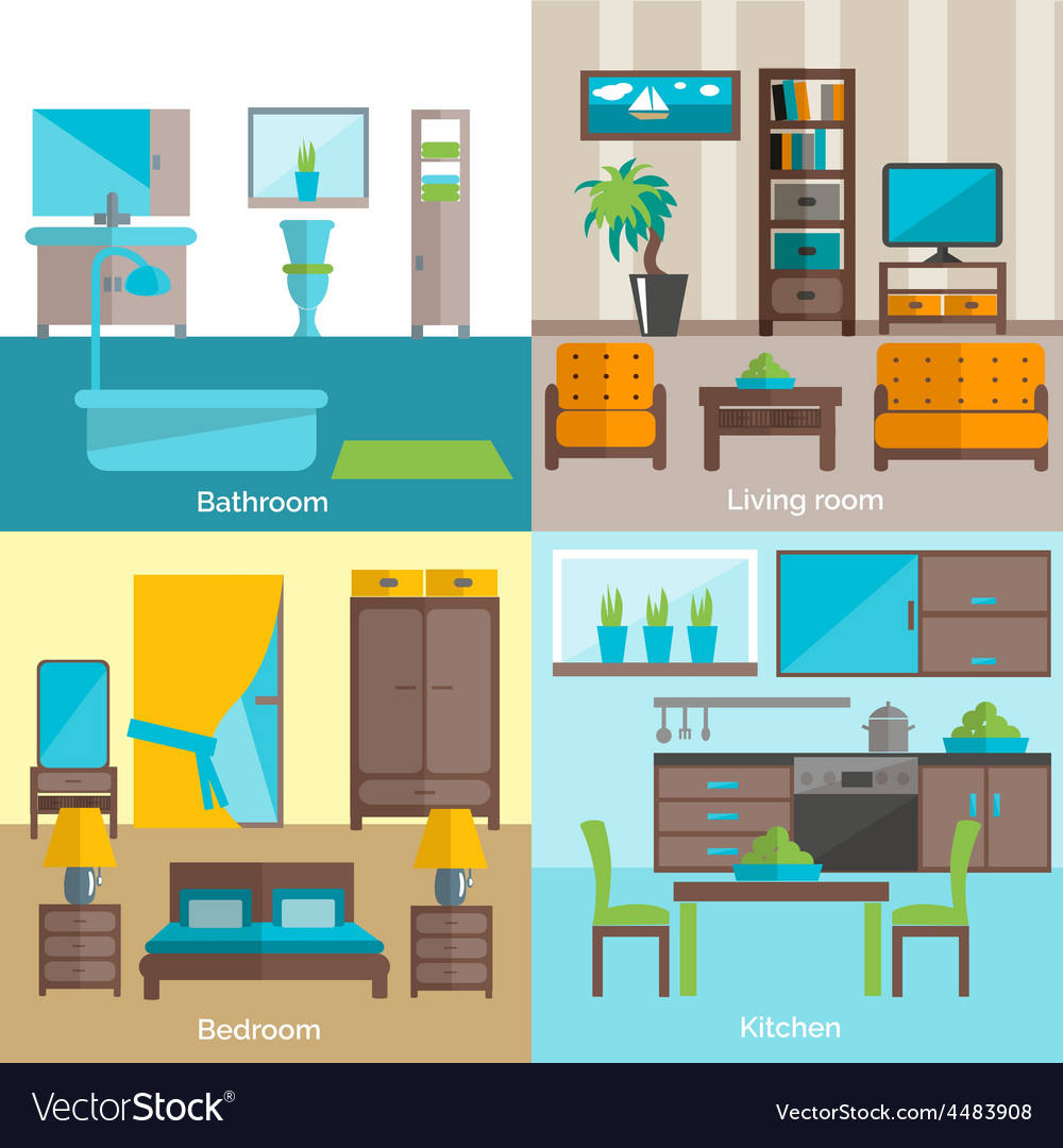 Interior rooms furnishing 4 flat icons vector | Price: 1 Credit (USD $1)