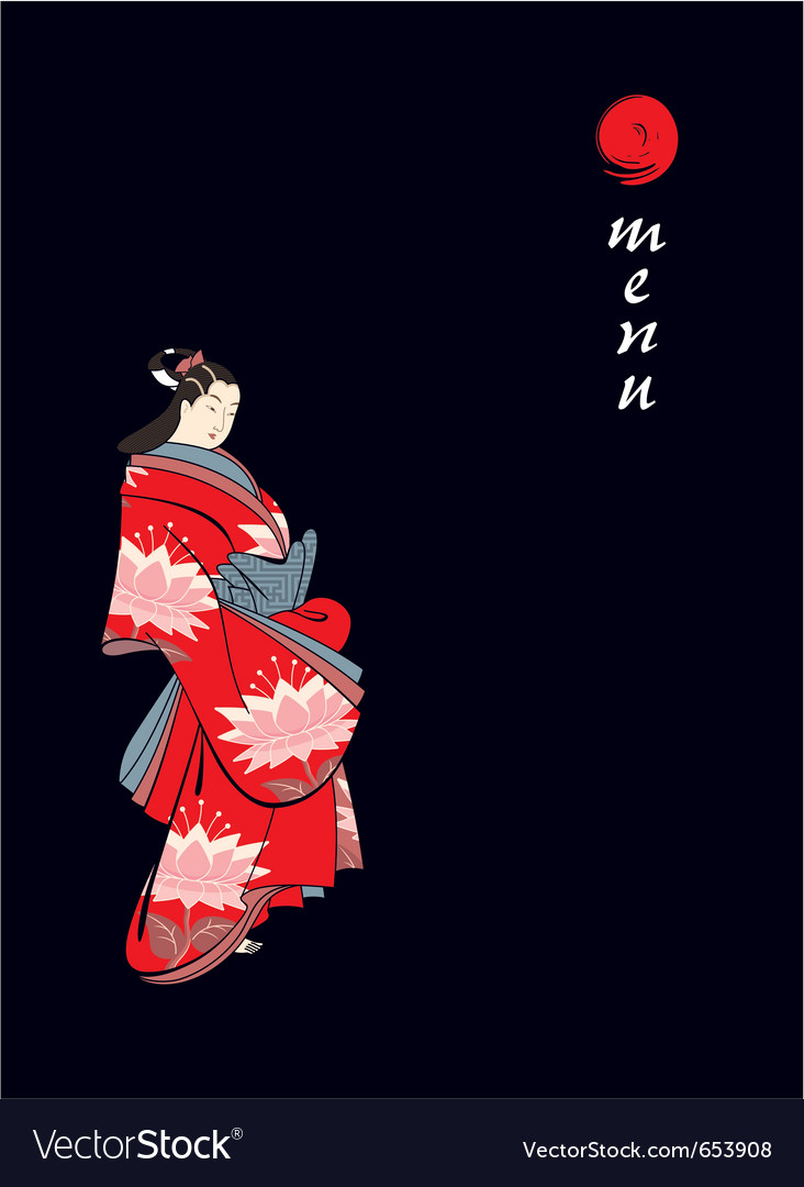 Menu cover with japanese geisha vector | Price: 1 Credit (USD $1)