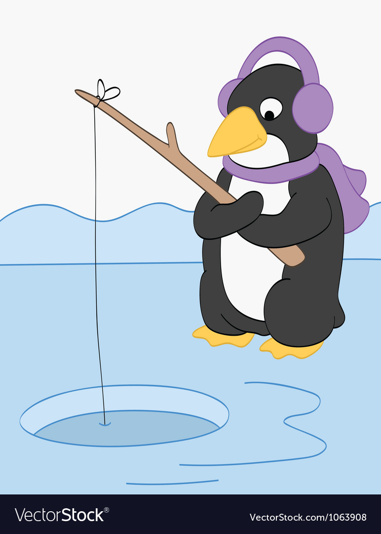 Penguin goes fishing vector | Price: 1 Credit (USD $1)