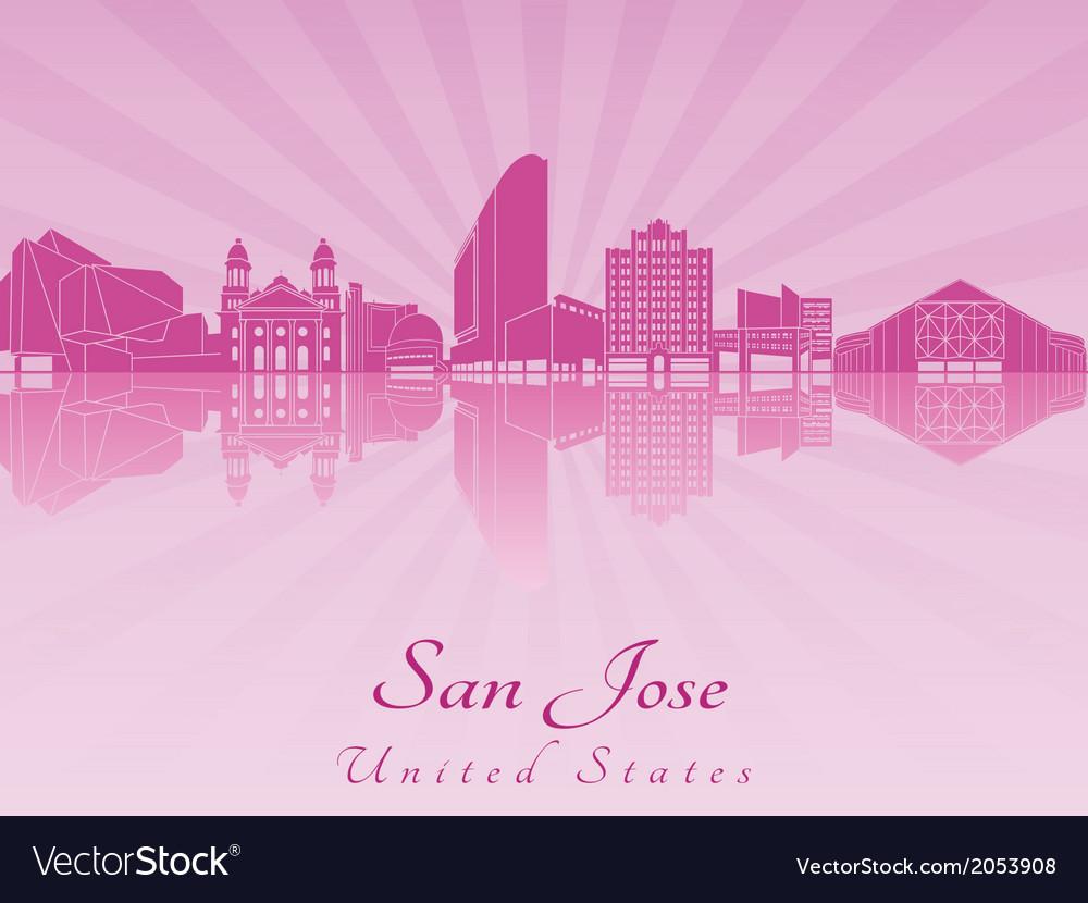 San jose skyline in purple radiant orchid vector | Price: 1 Credit (USD $1)