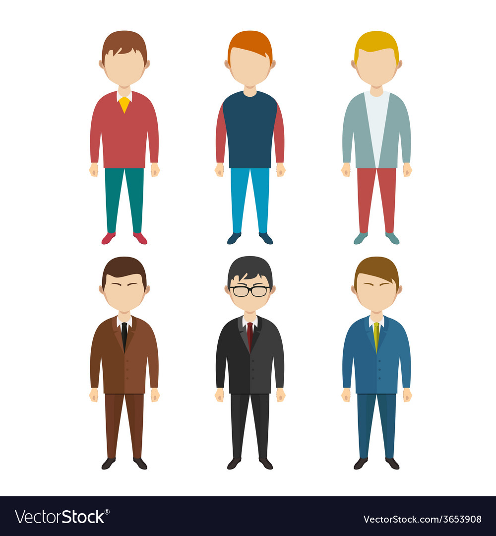 Set of flat human characters young men on white vector | Price: 1 Credit (USD $1)