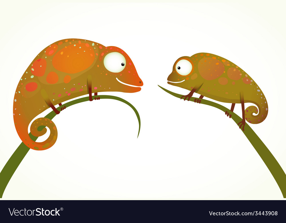 Two colorful lizards sitting on grass animal vector | Price: 1 Credit (USD $1)