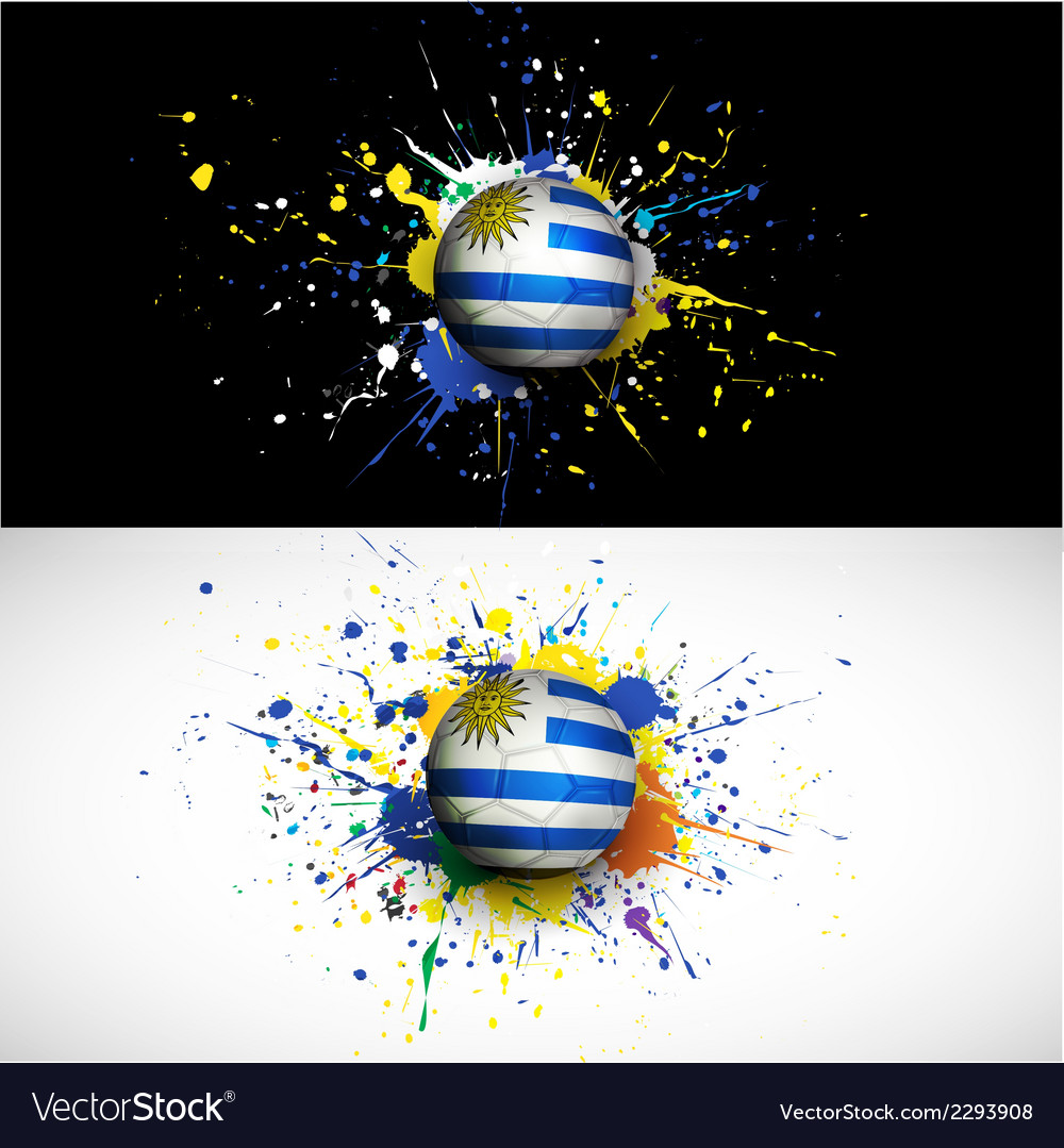 Uruguay flag with soccer ball dash on colorful vector | Price: 1 Credit (USD $1)