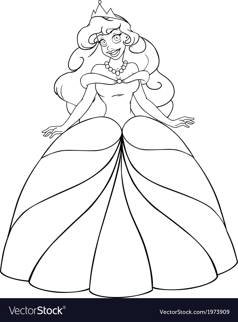 African princess coloring page vector | Price: 1 Credit (USD $1)