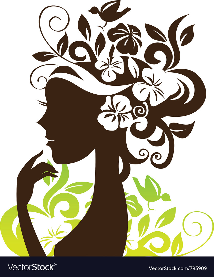 Beautiful woman silhouette with flowers and bird vector | Price: 1 Credit (USD $1)