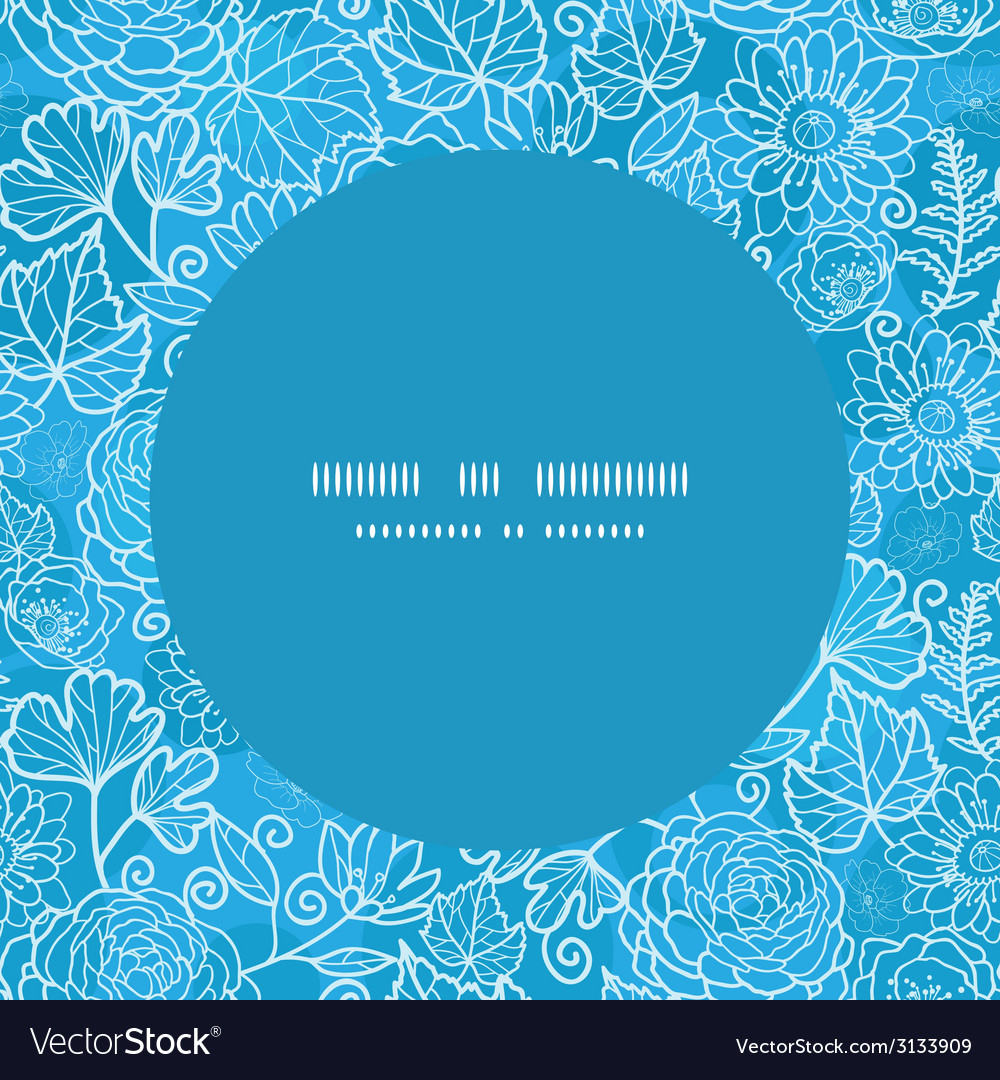 Blue field floral texture frame seamless pattern vector | Price: 1 Credit (USD $1)
