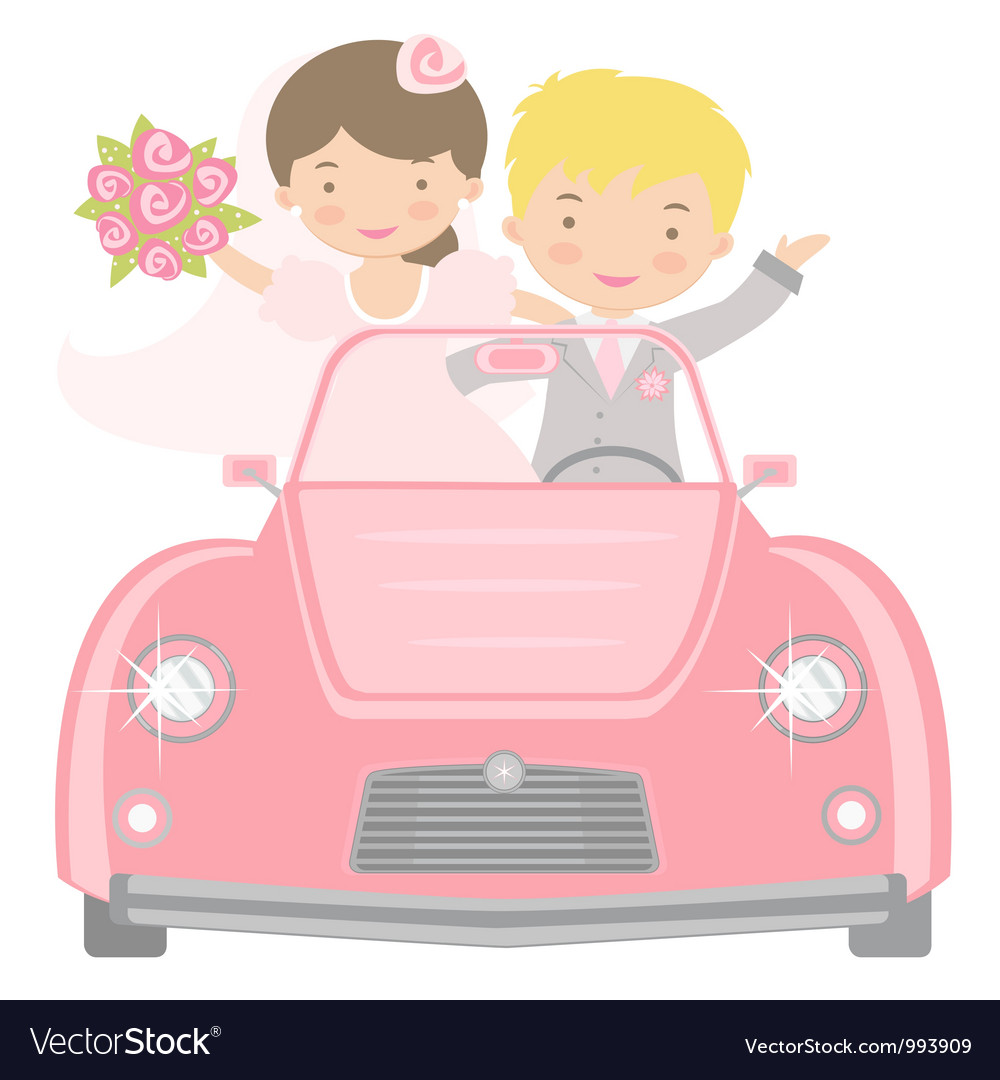 Bride and groom in car vector | Price: 3 Credit (USD $3)