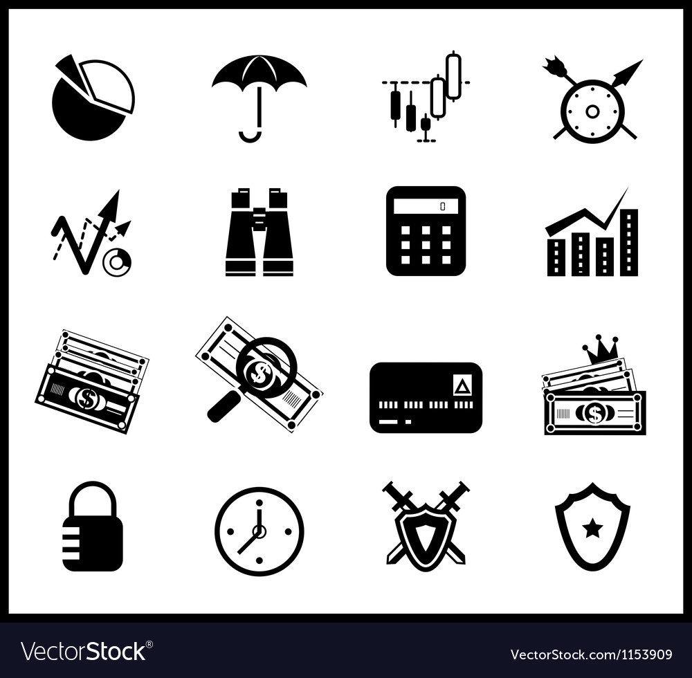 Finance protection icon set vector | Price: 1 Credit (USD $1)