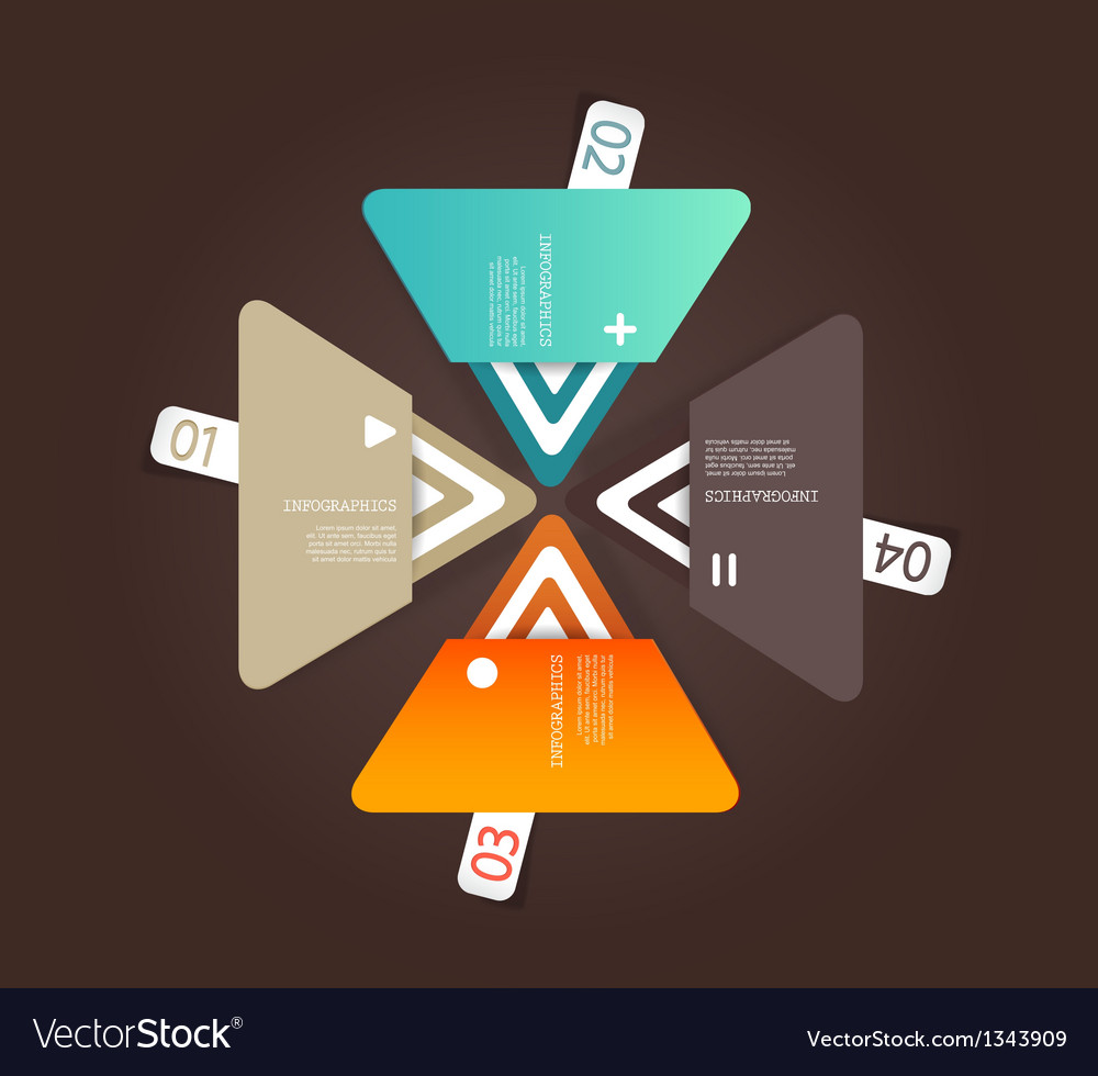 Four colored paper triangles with place for your vector | Price: 1 Credit (USD $1)