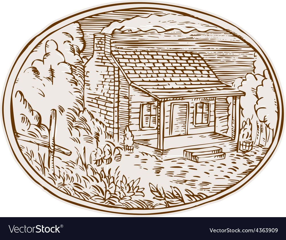 Log cabin farm house oval etching vector | Price: 1 Credit (USD $1)