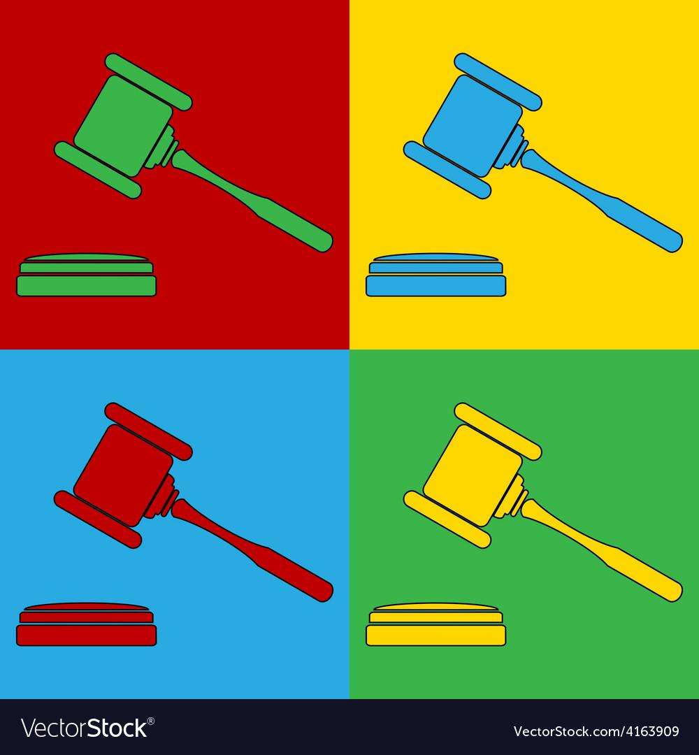 Pop art judge gavel icons vector | Price: 1 Credit (USD $1)