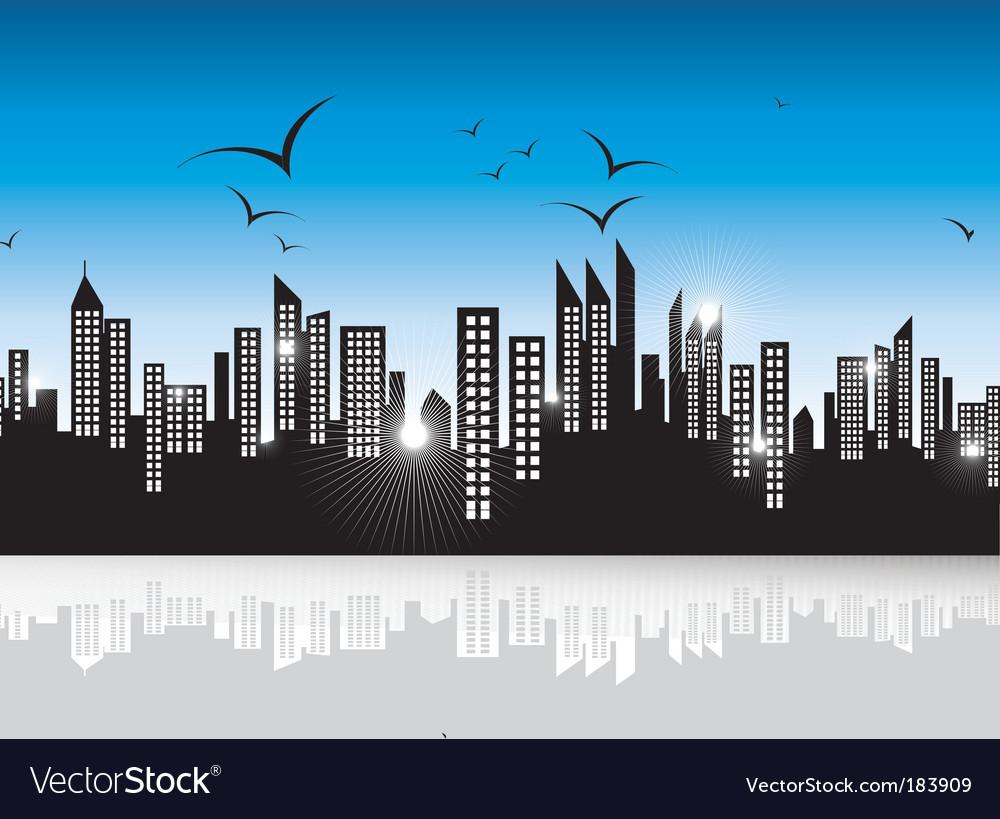 Urban skyscrapers landscape vector | Price: 3 Credit (USD $3)