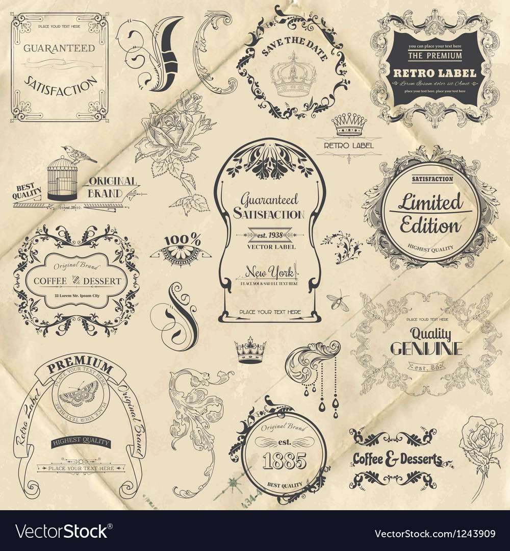 Vintage frame collection with flowers vector | Price: 1 Credit (USD $1)