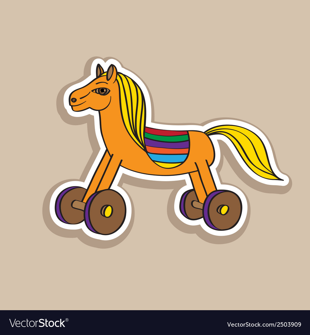Wooden horse sticker vector | Price: 1 Credit (USD $1)