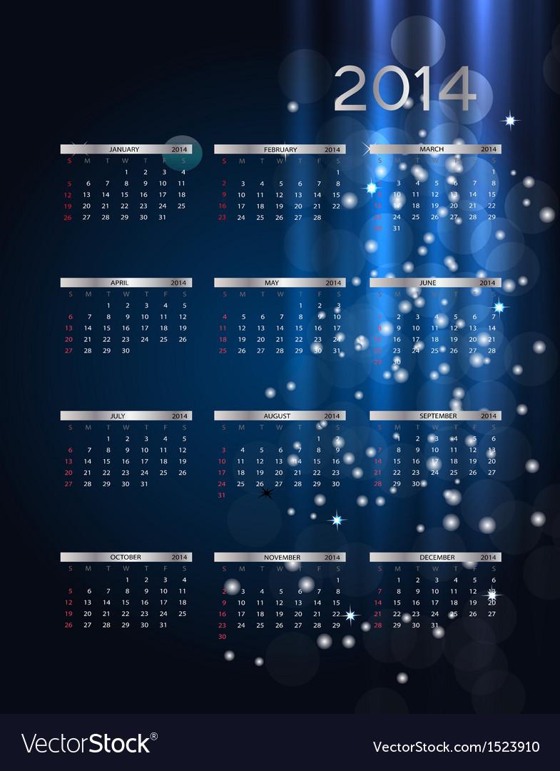 2014 new year calendar vector | Price: 1 Credit (USD $1)