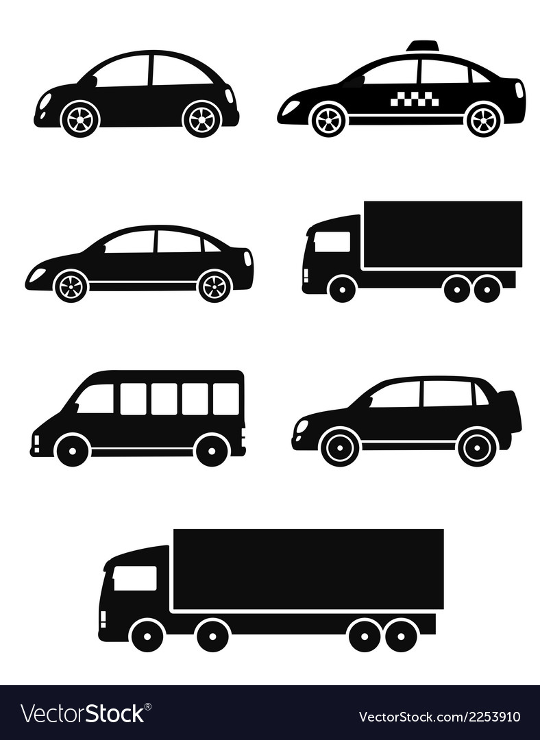 Black isolated cars set vector | Price: 1 Credit (USD $1)