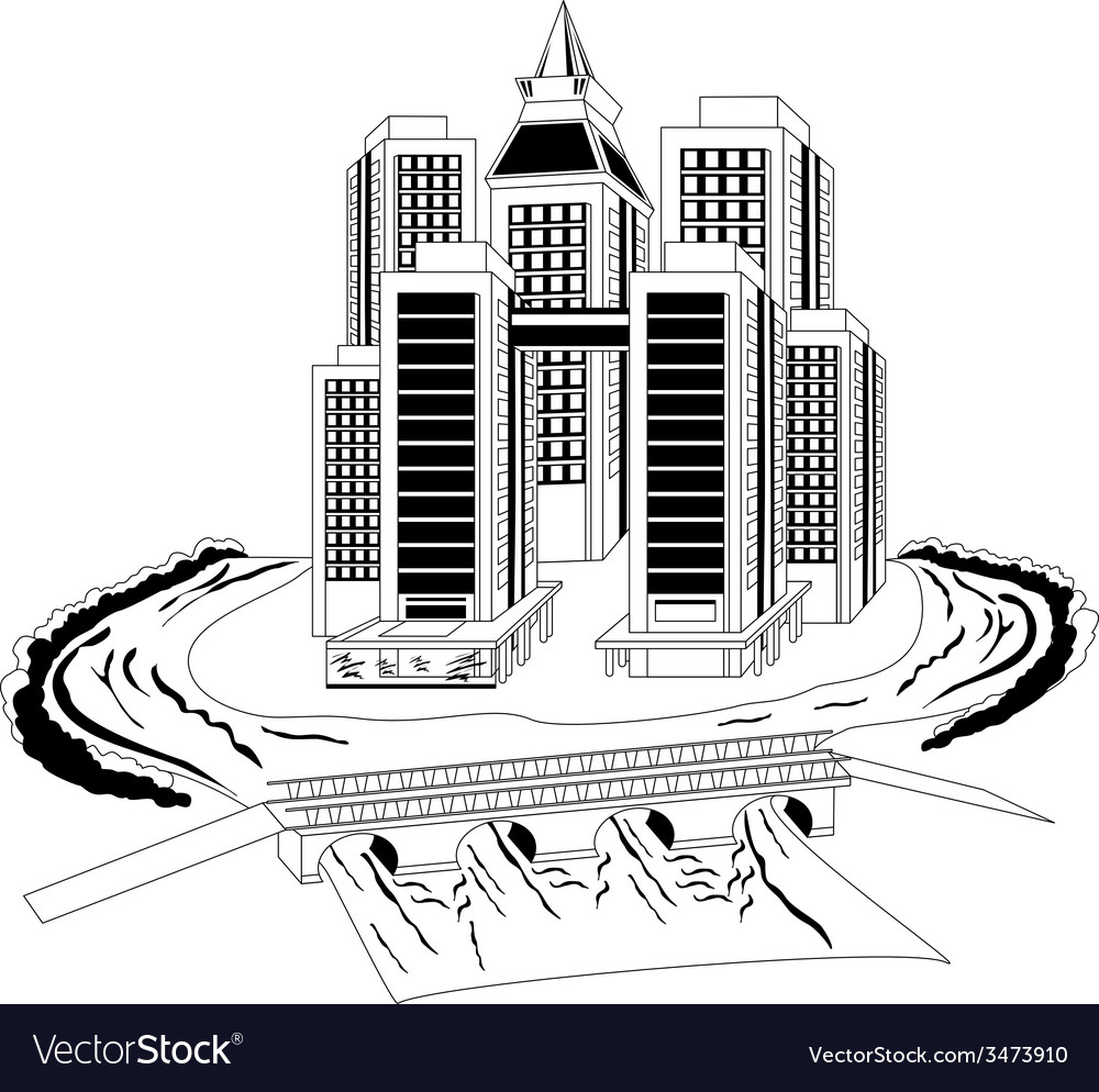 City on the river vector | Price: 1 Credit (USD $1)