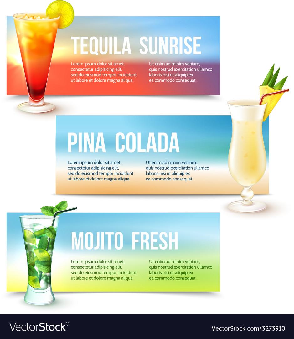Cocktails banner set vector | Price: 1 Credit (USD $1)
