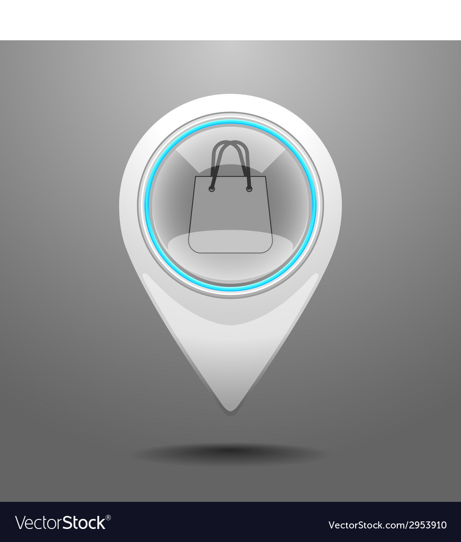 Glossy shopping center icon vector