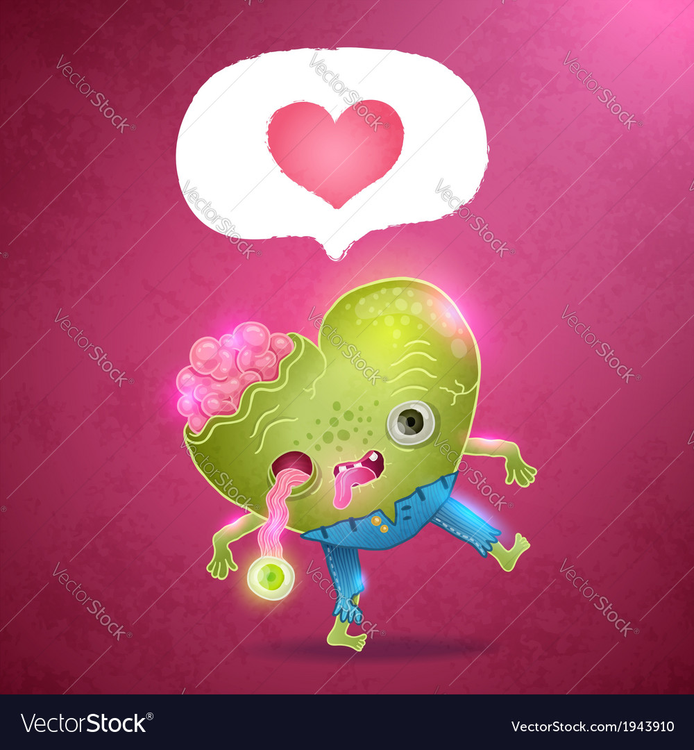 Happy valentines card with zombie heart vector | Price: 1 Credit (USD $1)