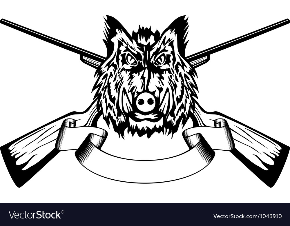 Head wild boar and crossed gun vector | Price: 1 Credit (USD $1)