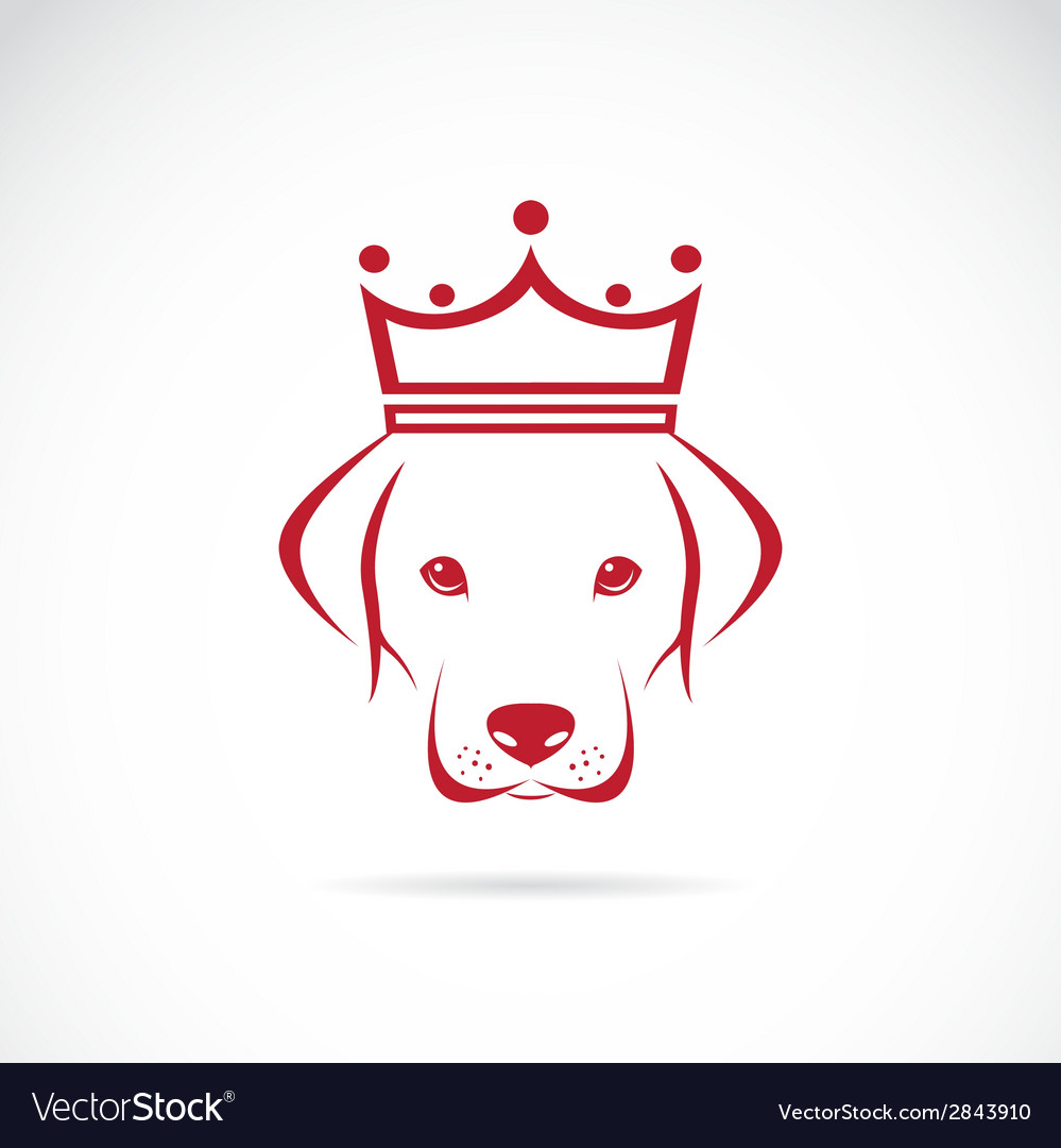 Image of a dog head wearing a crown vector | Price: 1 Credit (USD $1)