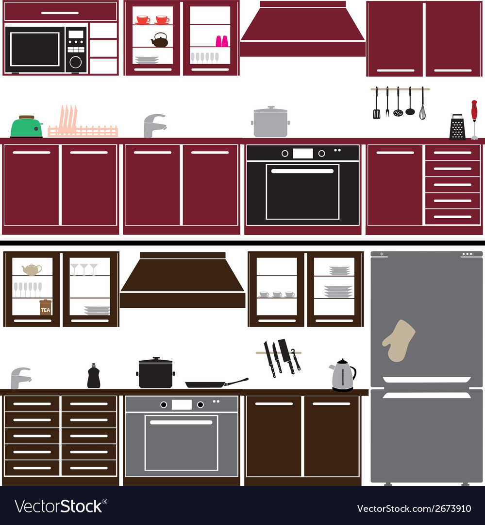 Kitchen unit set with equipment eps10 vector | Price: 1 Credit (USD $1)