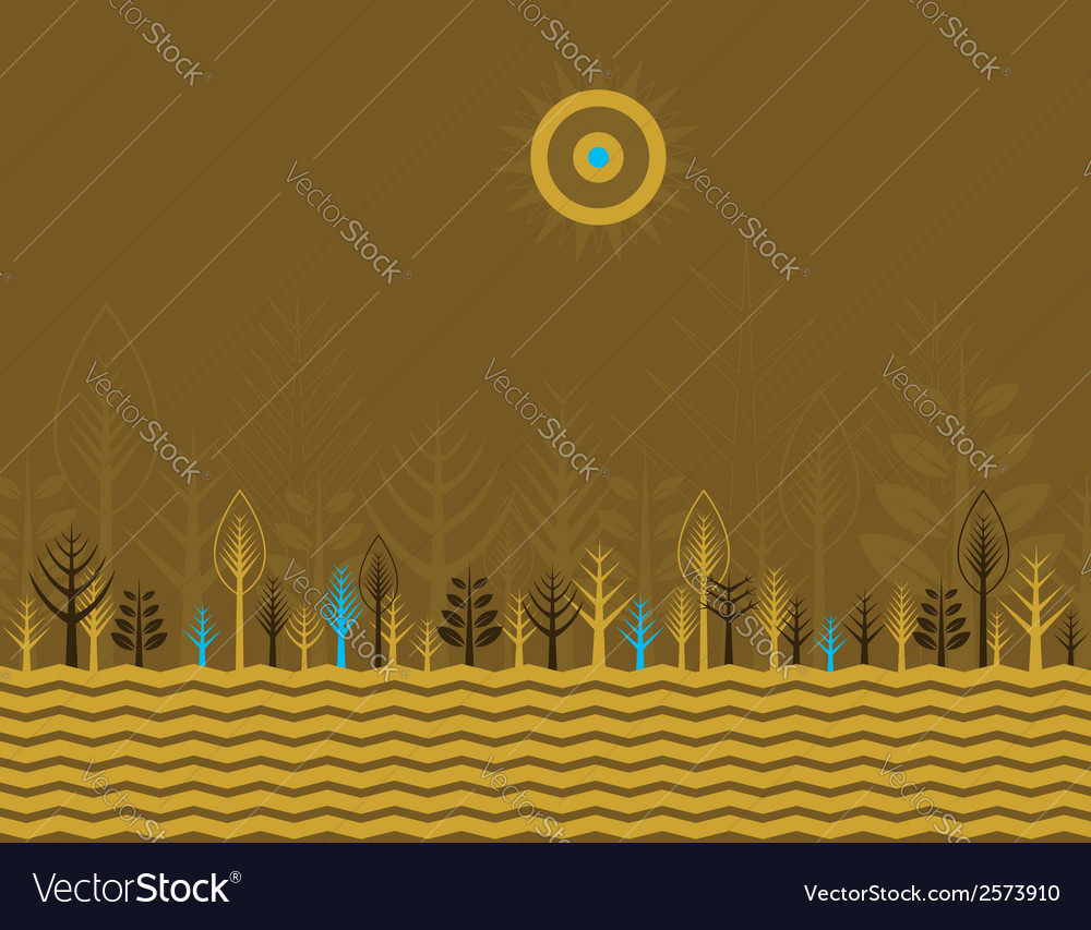 Many trees on the brown background vector | Price: 1 Credit (USD $1)