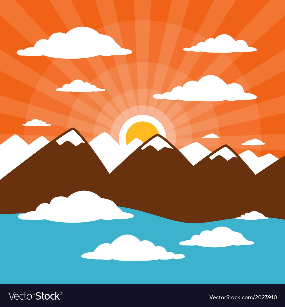 Nature abstract mountains with clouds sun set - ri vector | Price: 1 Credit (USD $1)