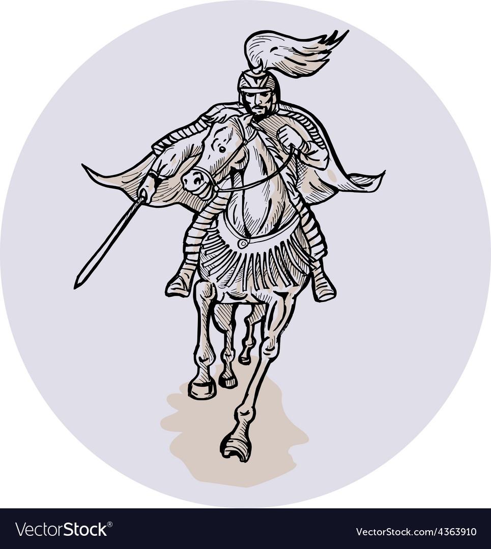 Samurai warrior with katana sword horseback vector | Price: 1 Credit (USD $1)