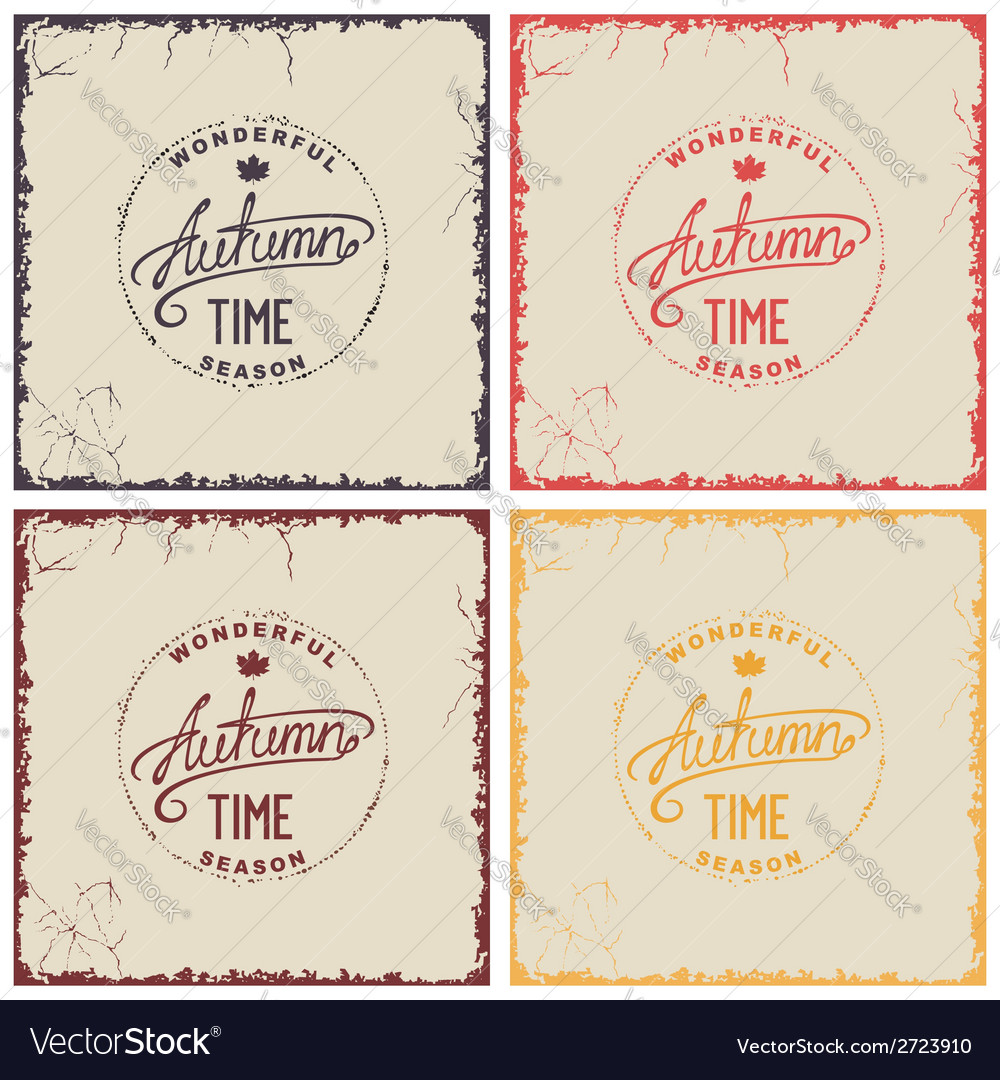 Set of vintage autumn card vector | Price: 1 Credit (USD $1)