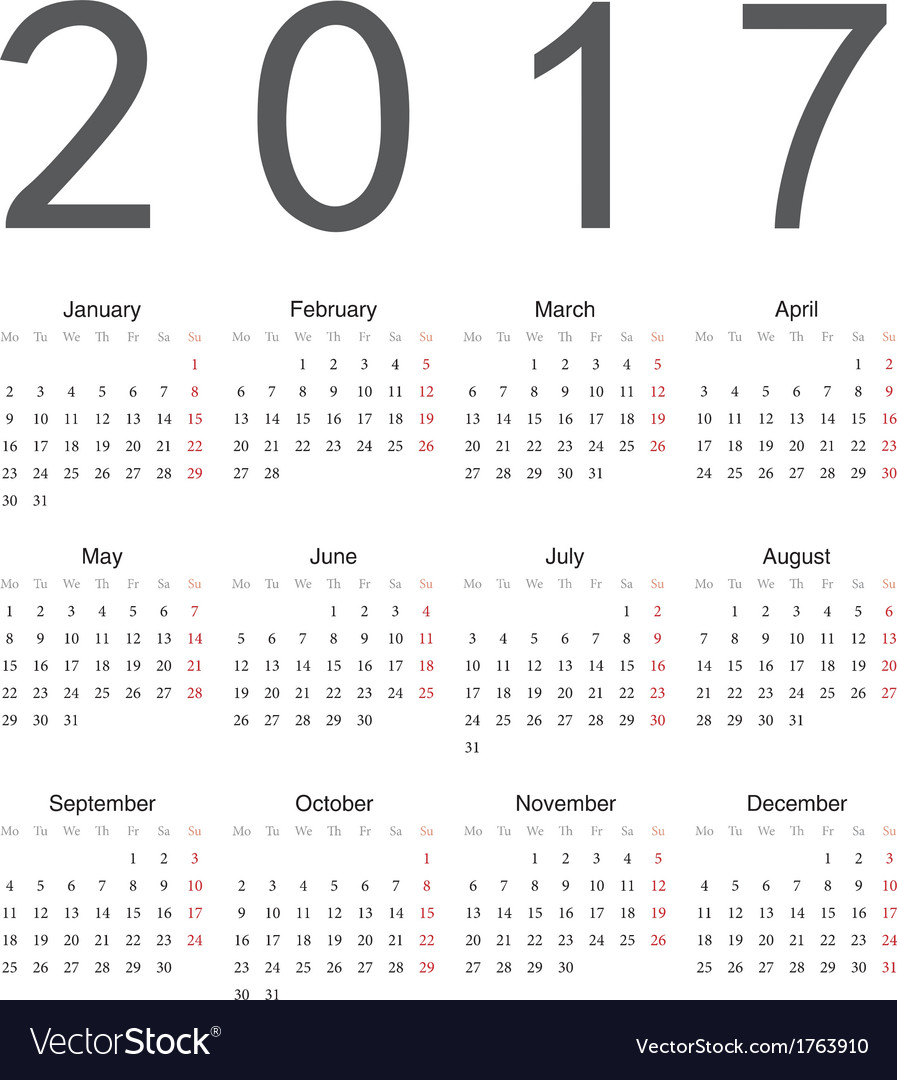 Simple european square calendar 2017 vector | Price: 1 Credit (USD $1)