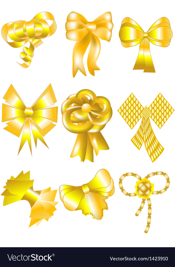 Unusual gold bows vector | Price: 1 Credit (USD $1)
