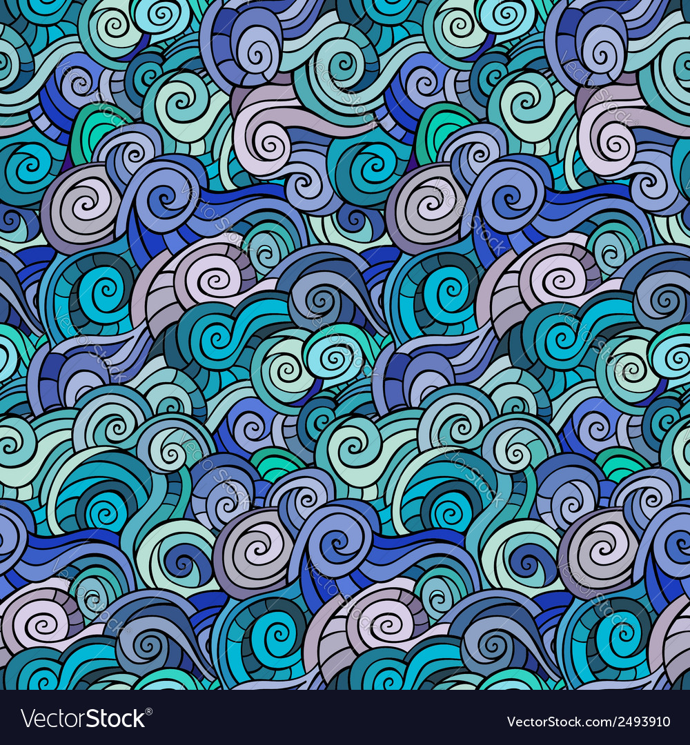 Waves and curls pattern vector | Price: 1 Credit (USD $1)