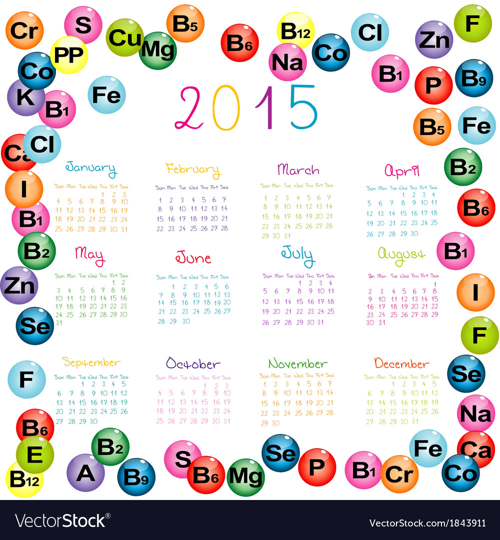 2015 calendar with vitamins and minerals for vector | Price: 1 Credit (USD $1)