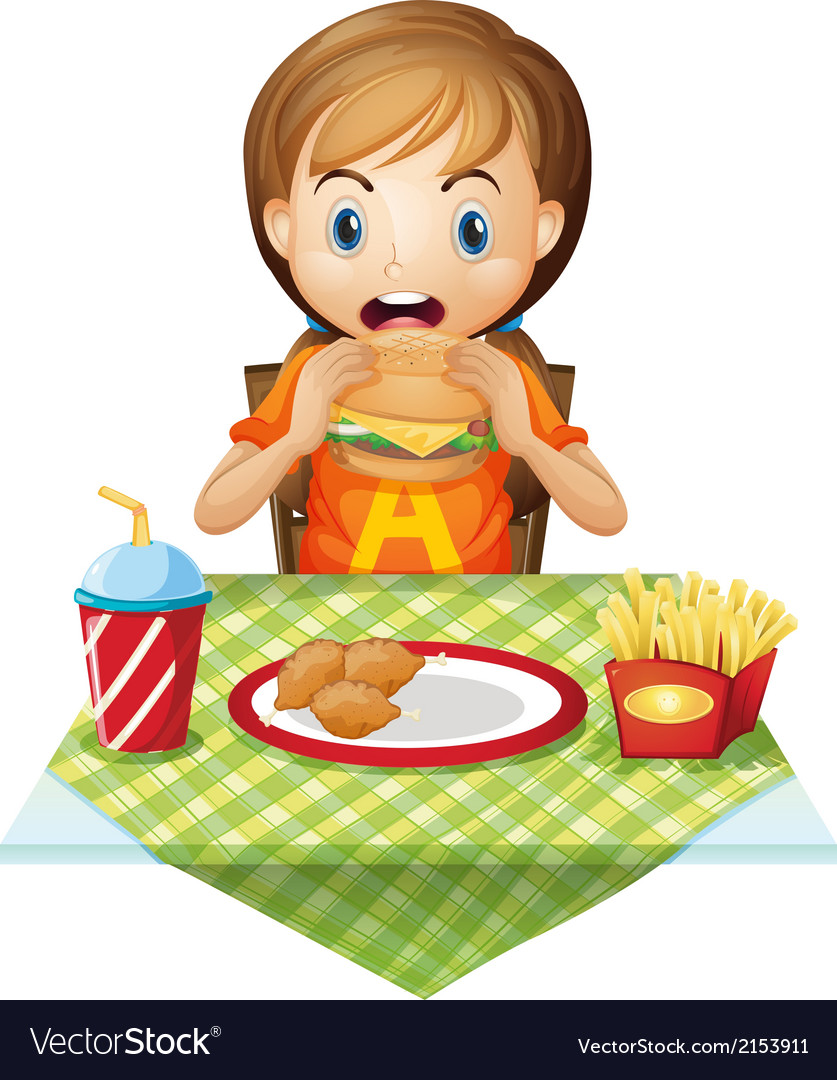 A child eating at a fastfood restaurant vector | Price: 3 Credit (USD $3)