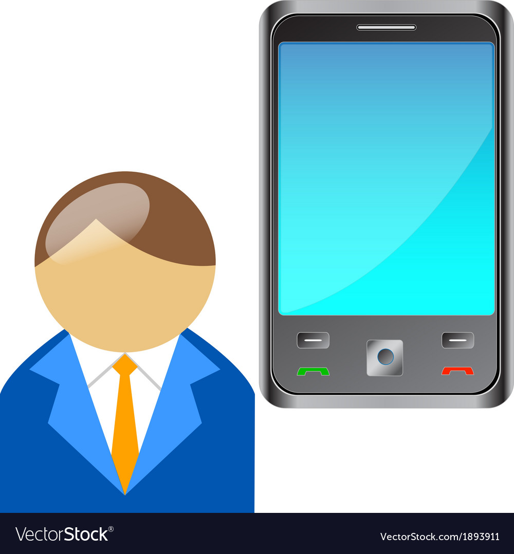 Bring your own device byod buddy with mobile phone vector | Price: 1 Credit (USD $1)
