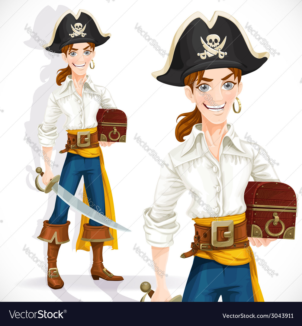 Cute pirate with cutlass and chest vector | Price: 3 Credit (USD $3)