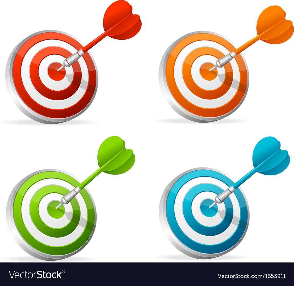Dartboard with dart colorful set vector | Price: 1 Credit (USD $1)