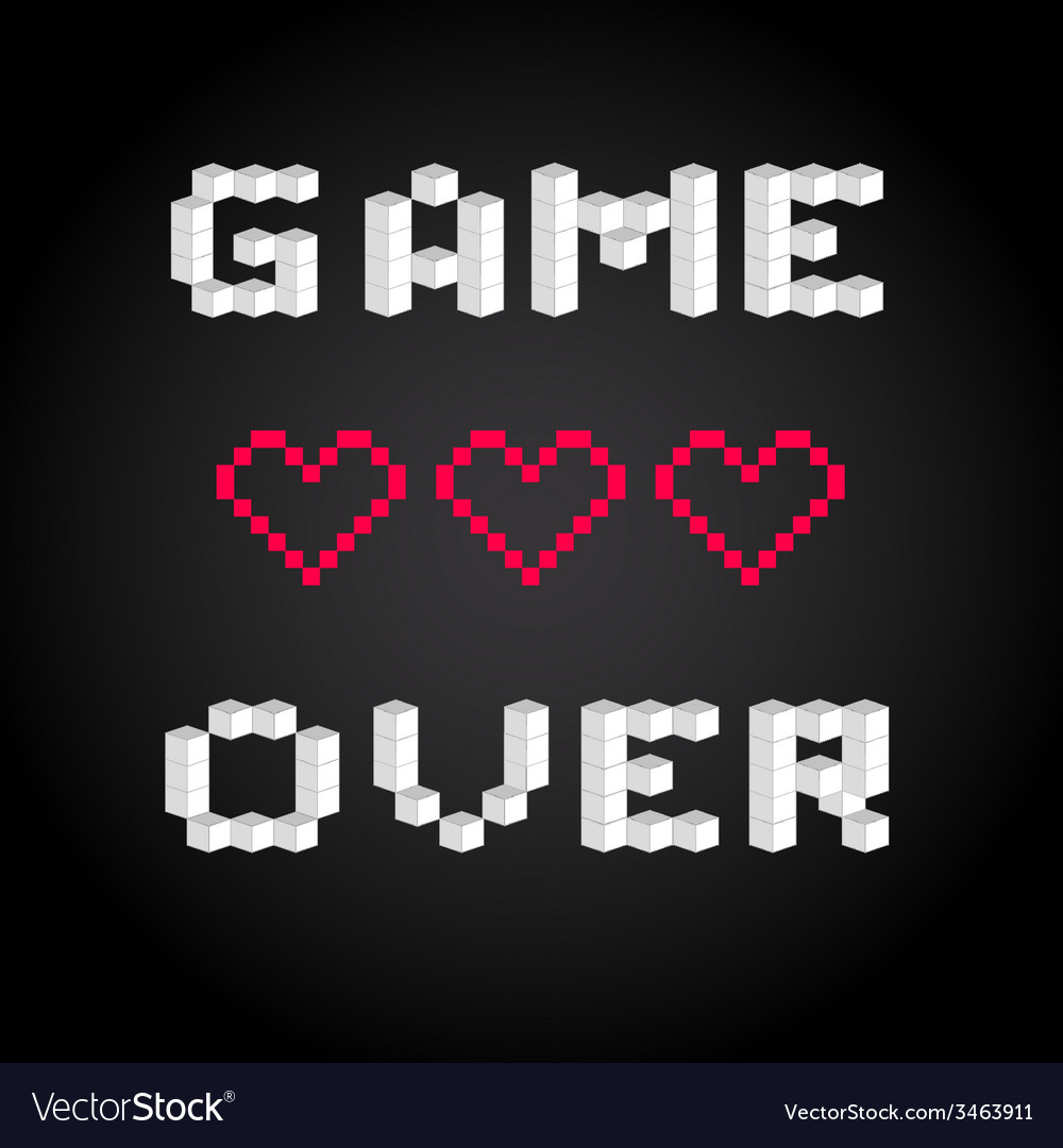 Game over screen old school gaming poster failure vector | Price: 1 Credit (USD $1)