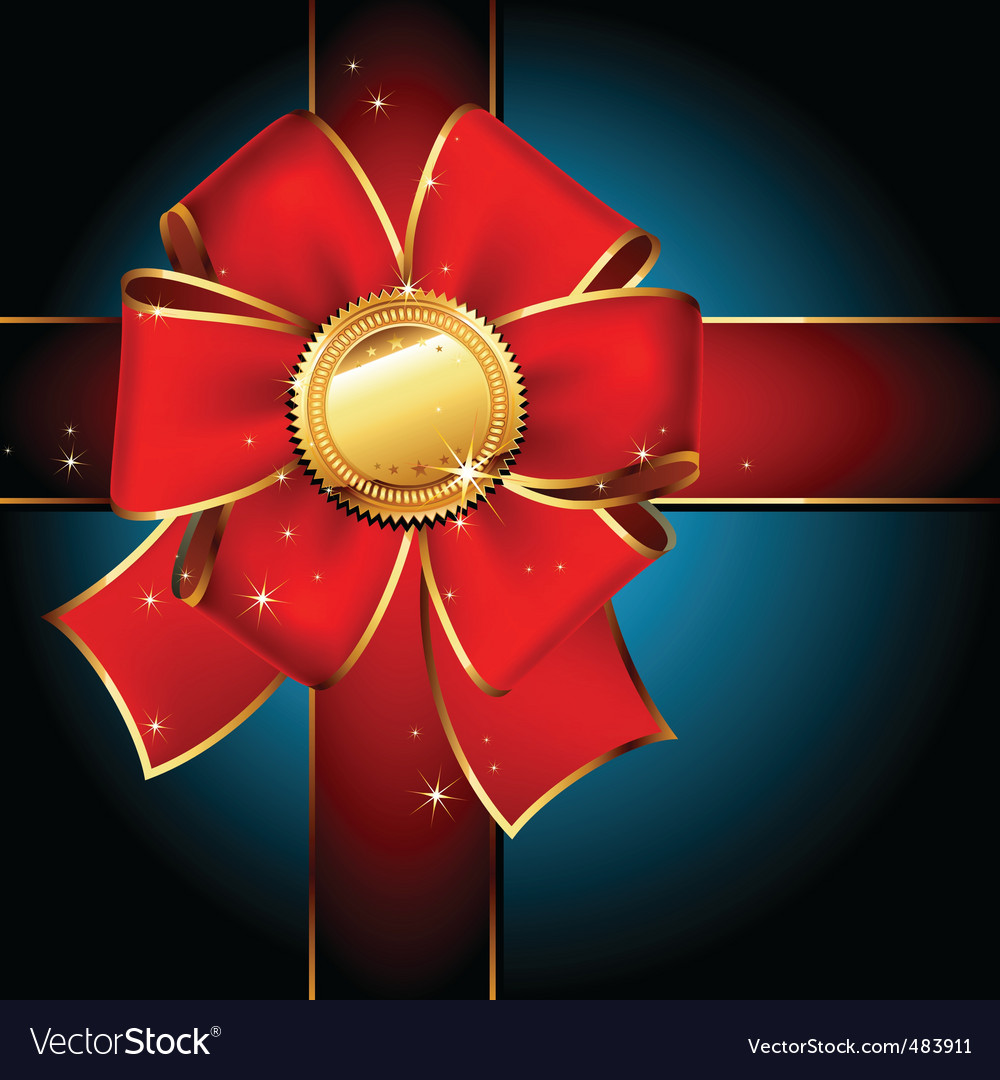Golden label with red ribbons vector | Price: 1 Credit (USD $1)