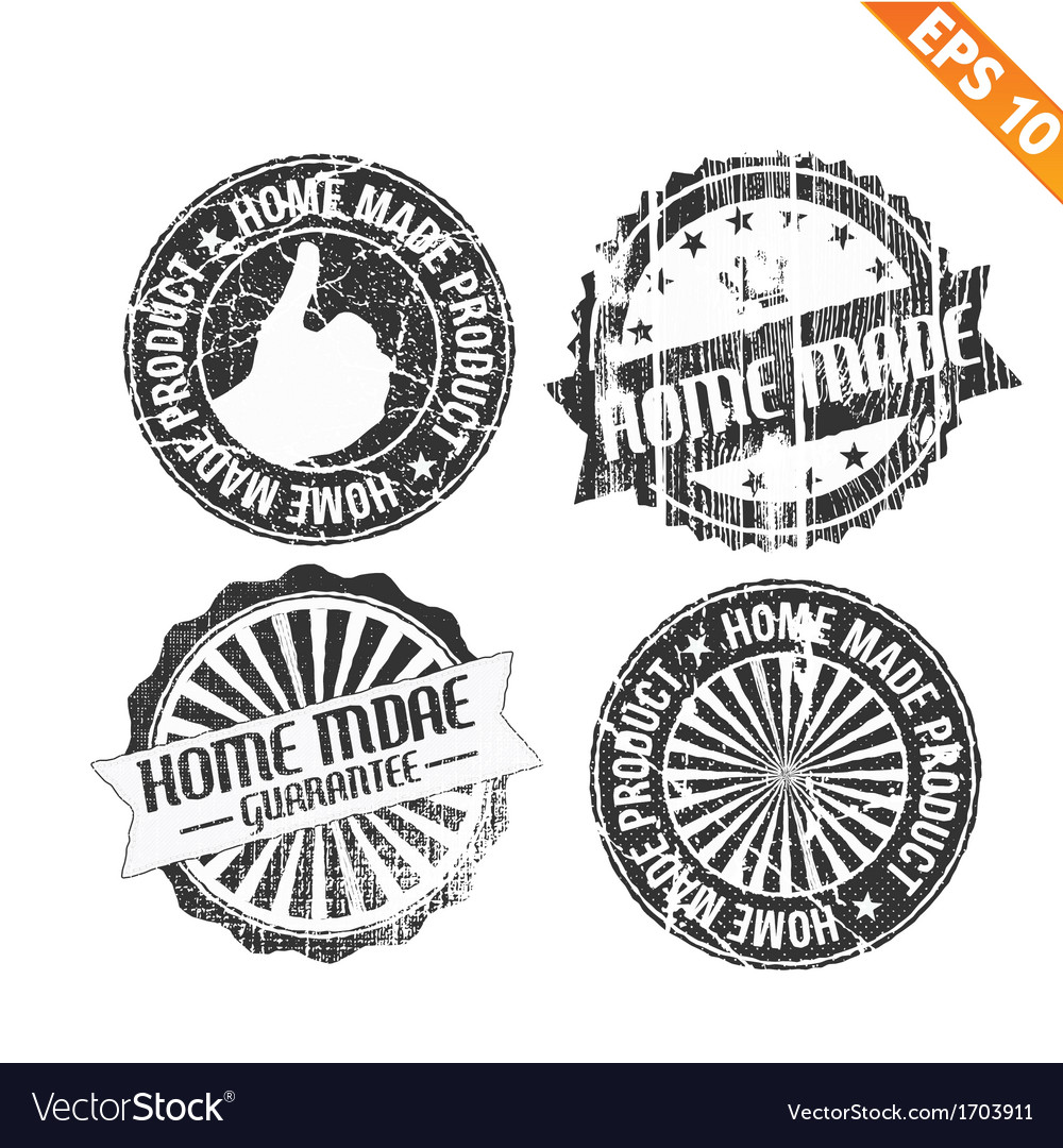 Label stitch sticker tag handmade - - eps10 vector | Price: 1 Credit (USD $1)